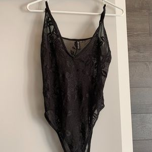 H&M Black Lace See-Through Bodysuit